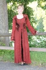 Kleid geschnürt mit Samteinsätzen - rost-rot
