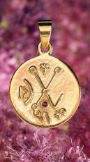 Venusisches Liebeszeichen - vergoldet mit Rubin