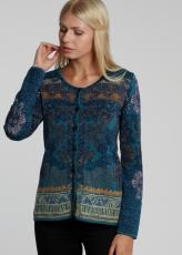 Kurzer Damen Cardigan, blau gemustert