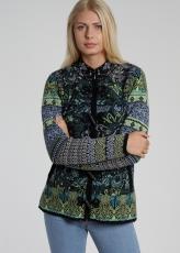 Damen Strickjacke mit Knebelknöpfen, schwarz/blau gemustert