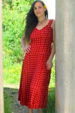 Sommerkleid - rot mit Punkten - midi