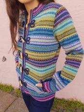 Damen Strickjacke mit Knebelknöpfen, blau gestreift