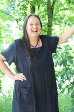 Sommerkleid Leinen - schwarz