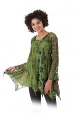 Bluse mit Spitzenärmel - grün