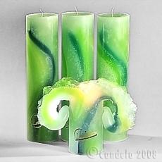 Lotuskerze: Aquarell Grün- 28 cm