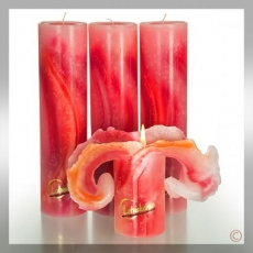 Lotuskerze: Aquarell Rot- 28 cm