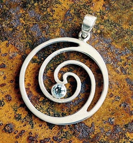 Spirale mit Topaz - Anhänger