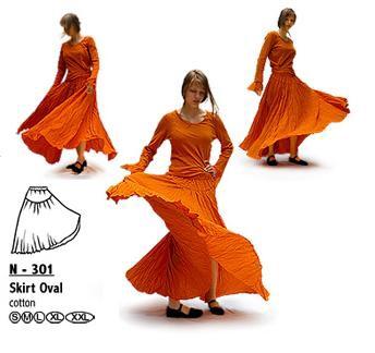 Baumwoll-Rock: weit in hell-orange