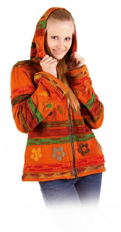 Fleece-Kapuzenjacke - orange