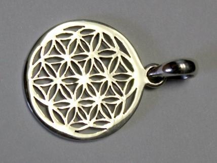 Blume des Lebens in Silber - 1,5 cm