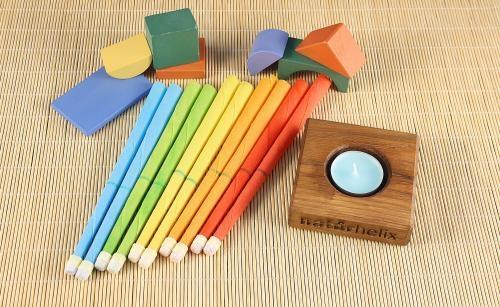 Kinderohrkerzen in Regenbogenfarben - 10 St.: Kamille