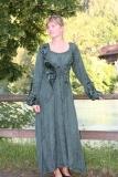 Kleid geschnürt mit Samteinsätzen - grün