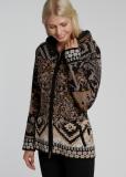 Damen Strickjacke mit Kapuze, schwarz gemustert