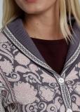 Damen Strickblazer mit Kragen, hellgrau