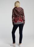 Damen Strickjacke mit Kapuze, rot-bunt