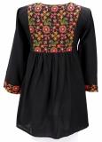 Tunika, Baumwolle - schwarz mit Bestickung