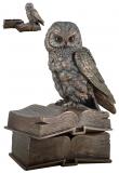 Eulen-Box, bronziert - 17 cm