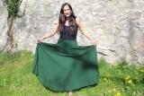 Baumwoll-Rock: weit - tannengrün