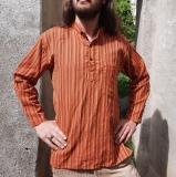 Fischer-Hemd: orange mit goldenen Knöpfen