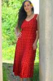 MidiKleid - rot mit Punkten