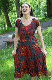 Sommerkleid - grau mit Blumen