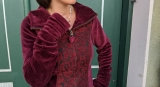 Brokat-Samtjacke bordeaux