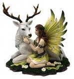 Elfe mit weißem Hirsch