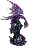 Drache lila mit Baby-Drachen - 27 cm
