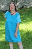 Sommerkleid Leinen - türkis