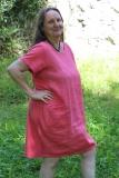 Sommerkleid Leinen - rot