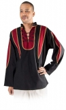 Hemd Leinen - schwarz/rot
