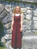 Kleid geschnürt: bordeaux mit Samteinsatz