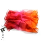 Chiffon-Seidenschal - rot/rost/pink